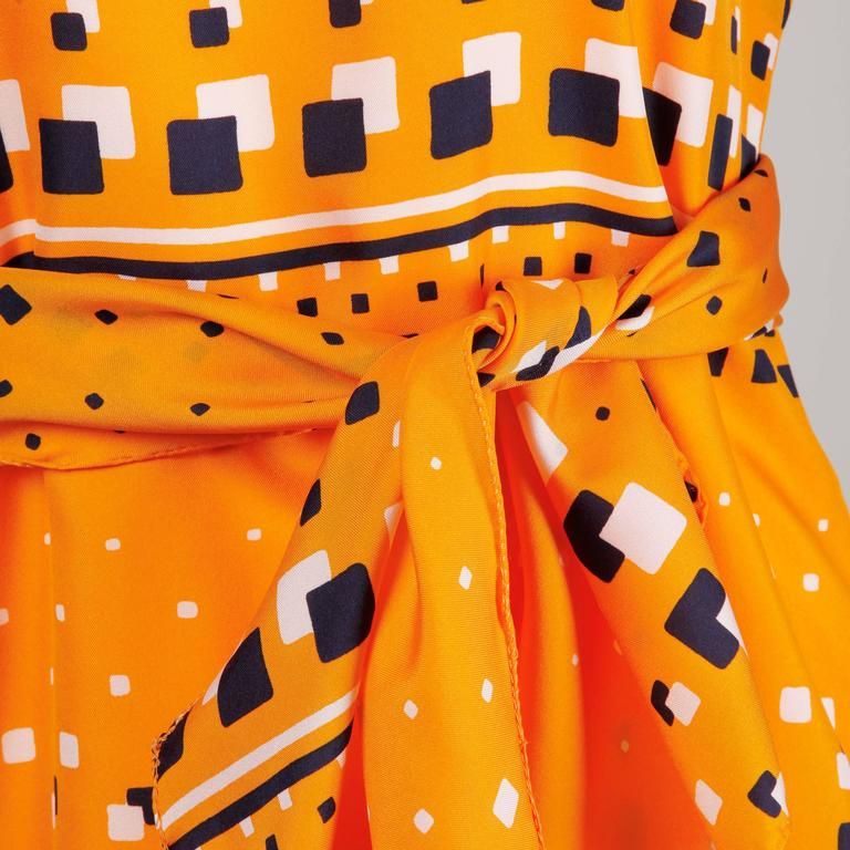 Women's Adele Simpson 1960s Vintage Orange Mod Geometric Print Dress For Sale
