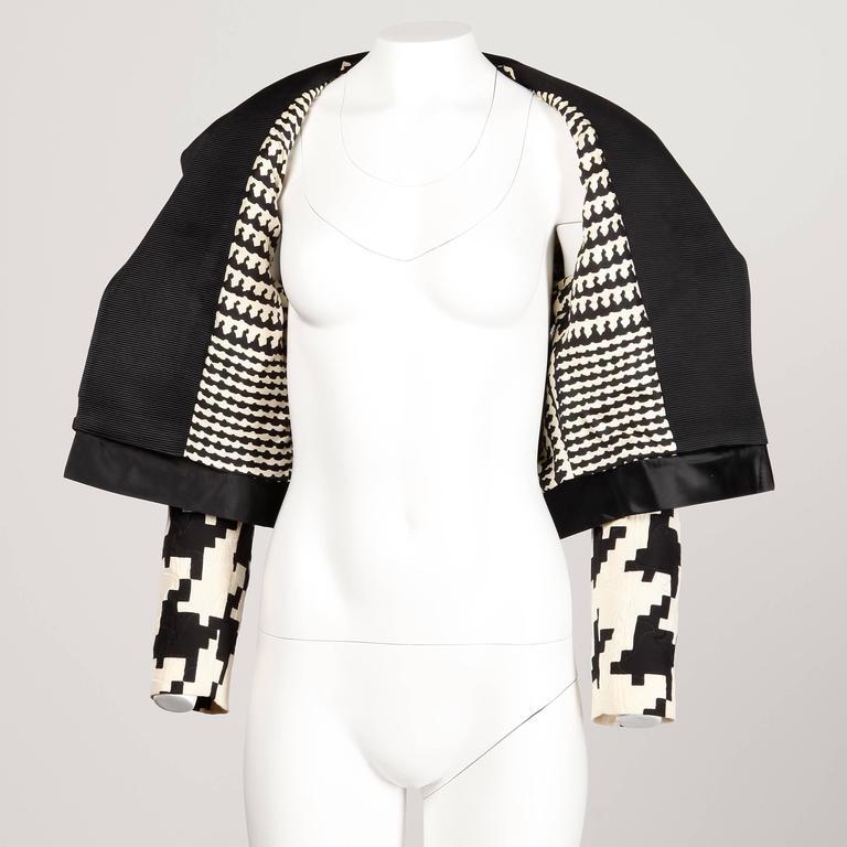 Genny by Vesace Vintage 1990s Silk + Wool Houndstooth Print Jacket 4