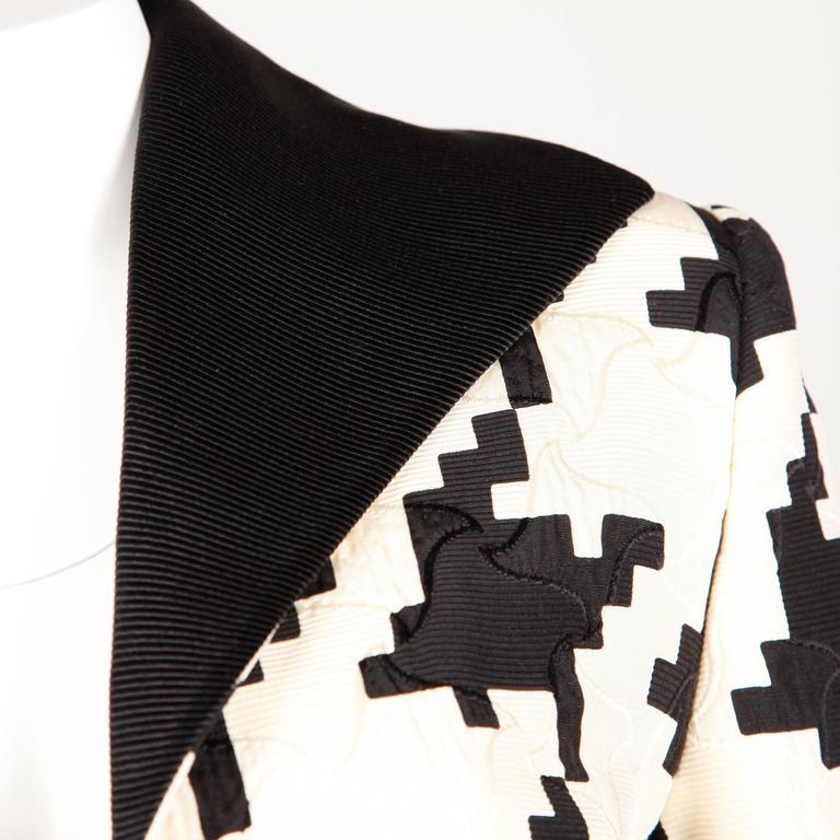 Genny by Vesace Vintage 1990s Silk + Wool Houndstooth Print Jacket 5
