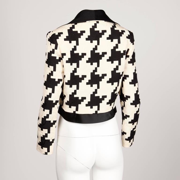 Genny by Vesace Vintage 1990s Silk + Wool Houndstooth Print Jacket 2
