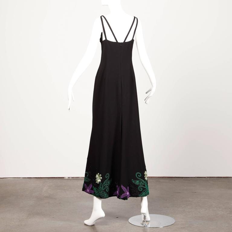 1970s Travilla Vintage Evening Dress with Purple Green + Black Flower Embroidery In Excellent Condition For Sale In Sparks, NV