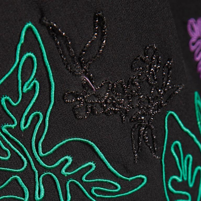 1970s Travilla Vintage Evening Dress with Purple Green + Black Flower Embroidery For Sale 2