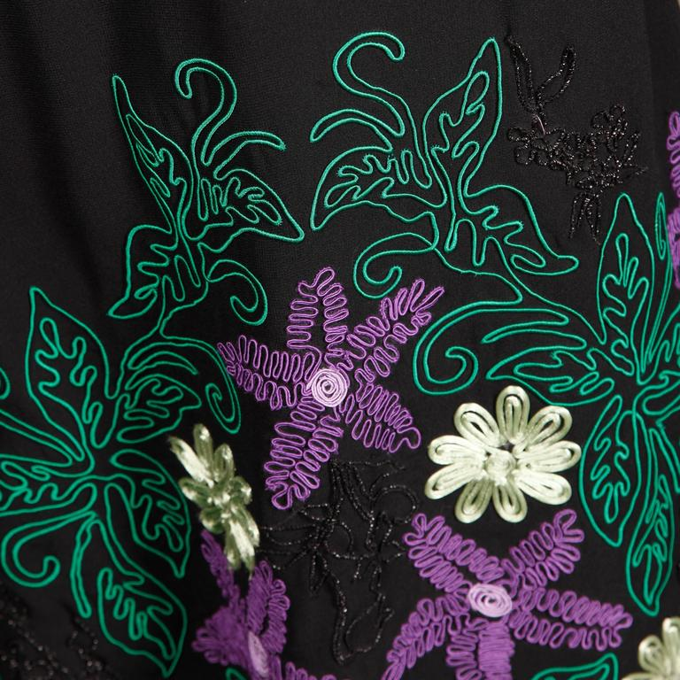 1970s Travilla Vintage Evening Dress with Purple Green + Black Flower Embroidery For Sale 1