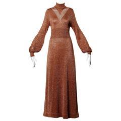 1970s Wenjilli Vintage Slinky Bronze Metallic Knit Maxi Dress