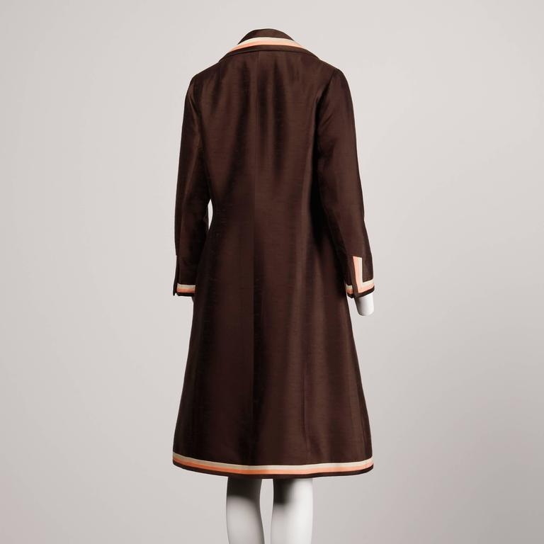 Stunning 1960s Vintage Silk + Wool Pink and Brown Striped Coat + Dress Ensemble 6