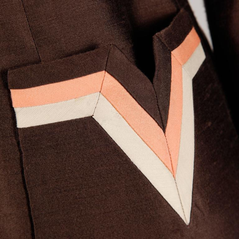 Stunning 1960s Vintage Silk + Wool Pink and Brown Striped Coat + Dress Ensemble 3