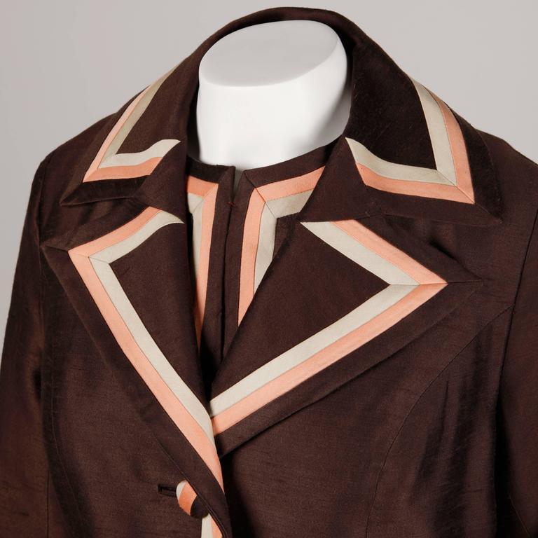 Stunning 1960s Vintage Silk + Wool Pink and Brown Striped Coat + Dress Ensemble 4
