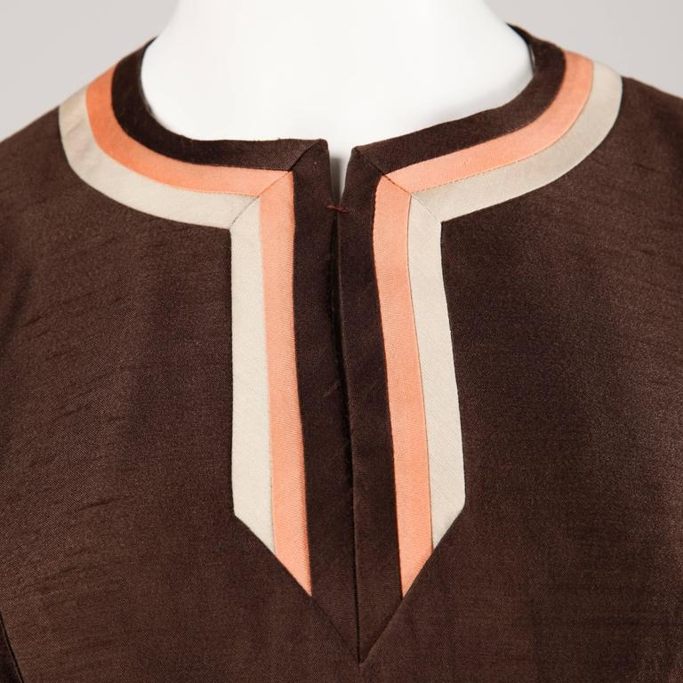Stunning 1960s Vintage Silk + Wool Pink and Brown Striped Coat + Dress Ensemble 8