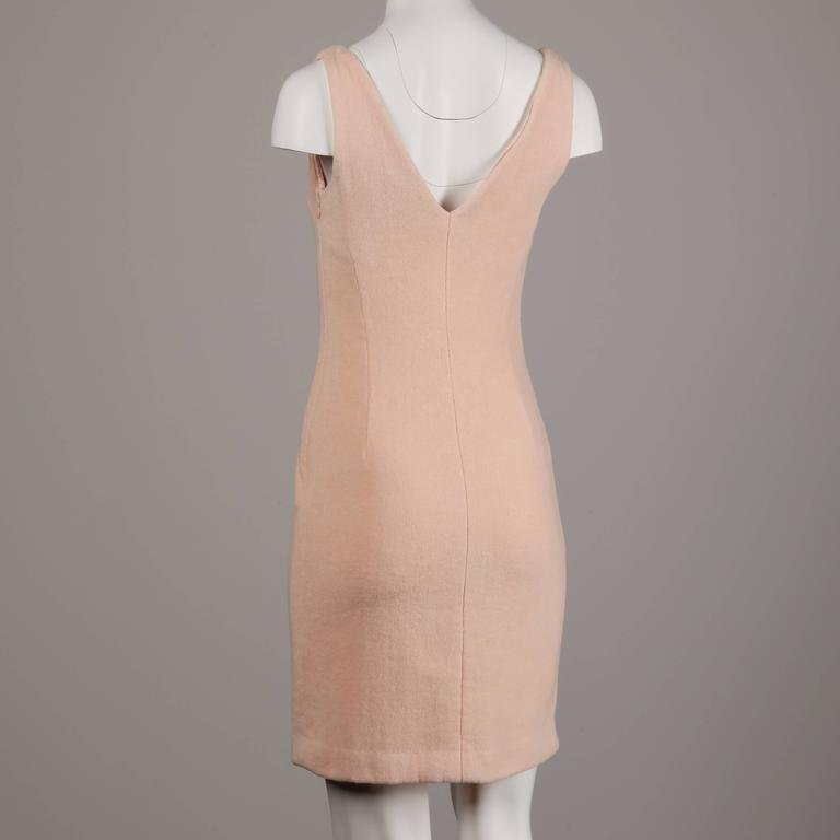 Brown Gianni Versace Couture Vintage 1990s Pale Pink Chenille Body Con Dress For Sale