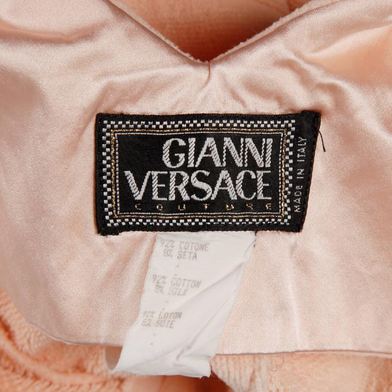 Super soft pale pink body con dress in a velvety chenille by Gianni Versace Couture. The cut on this is so flattering! Simple, elegant and chic.