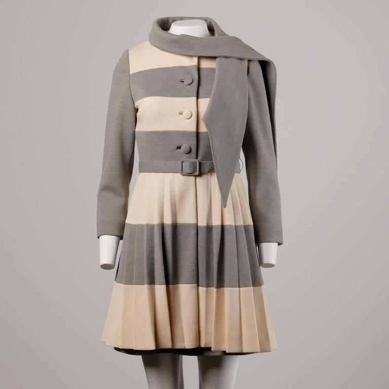 Lilli Ann 1960s Vintage Mod Wool Striped Coat, Dress + Belt 3-Piece Ensemble 3