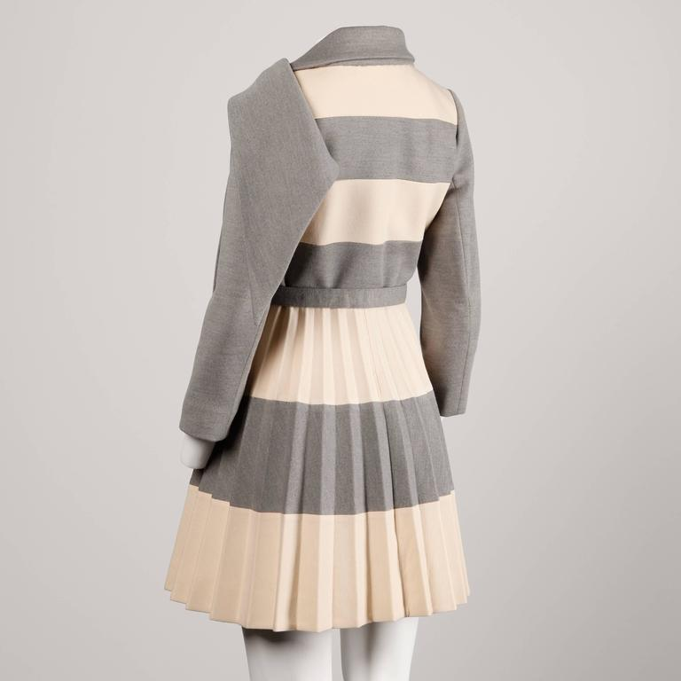 Lilli Ann 1960s Vintage Mod Wool Striped Coat, Dress + Belt 3-Piece Ensemble 5