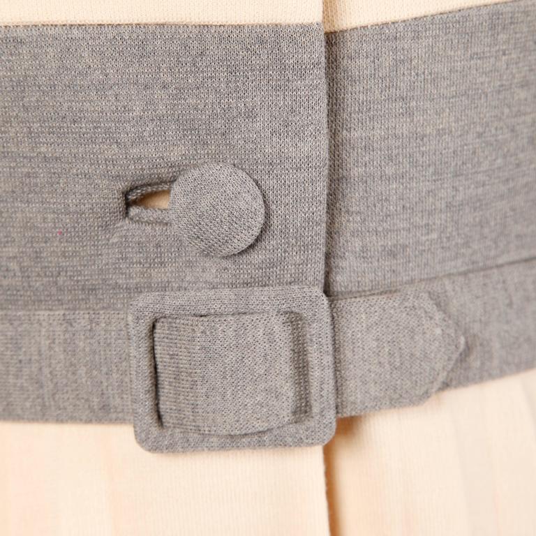 Lilli Ann 1960s Vintage Mod Wool Striped Coat, Dress + Belt 3-Piece Ensemble 7