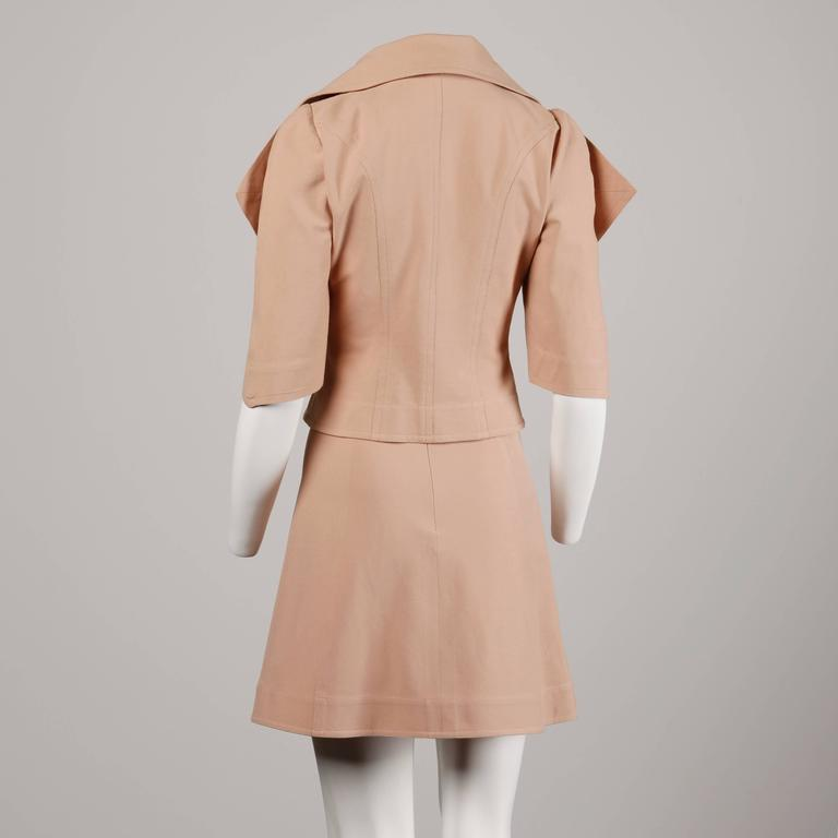 Fendi Blush Pink Avant Garde Jacket and Skirt Suit 2 Piece Ensemble In Excellent Condition For Sale In Sparks, NV