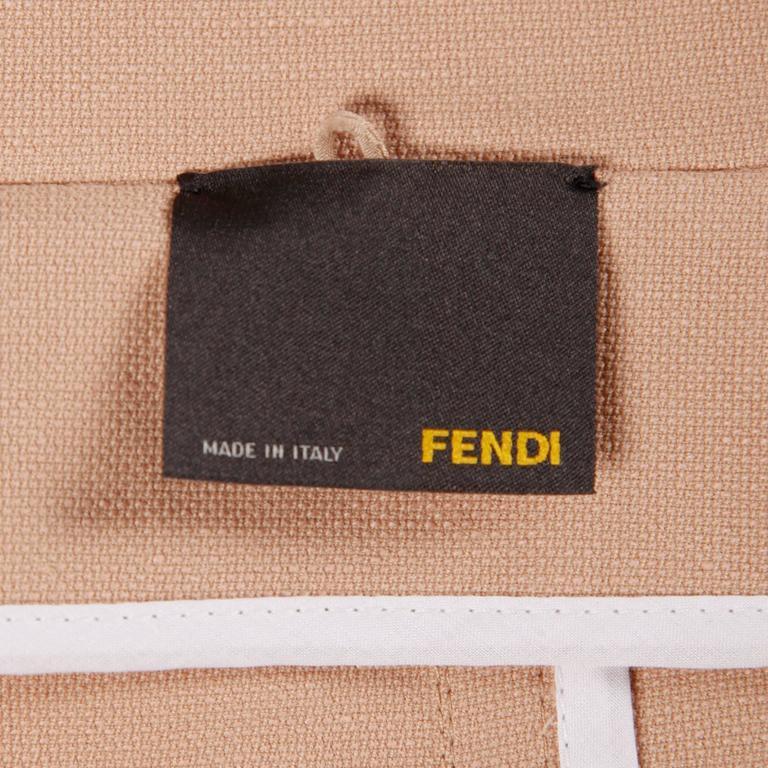 Beige Fendi Blush Pink Avant Garde Jacket and Skirt Suit 2 Piece Ensemble For Sale