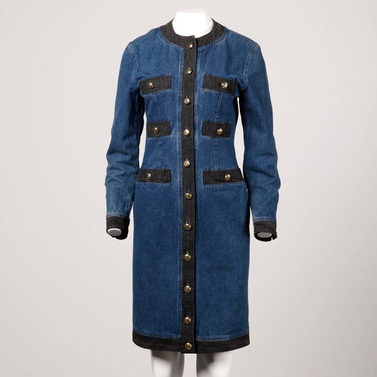 Moschino 1990s Vintage Black + Blue Denim Jeans Dress  4