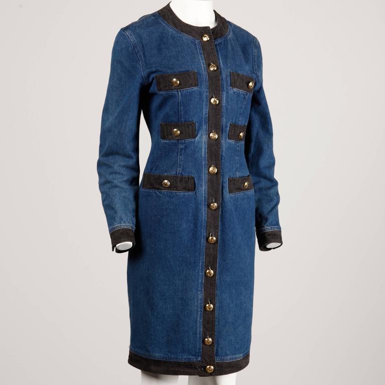Moschino 1990s Vintage Black + Blue Denim Jeans Dress  2