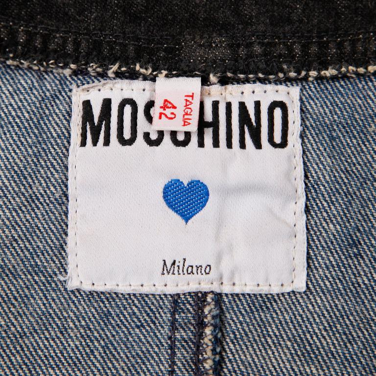 Moschino 1990s Vintage Black + Blue Denim Jeans Dress  In Excellent Condition For Sale In Sparks, NV