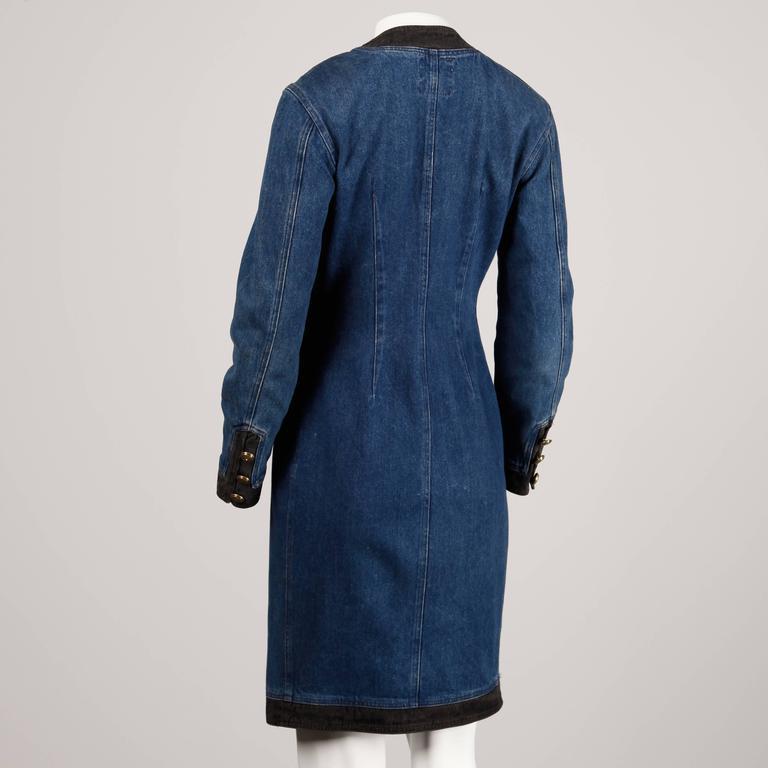 Moschino 1990s Vintage Black + Blue Denim Jeans Dress  6