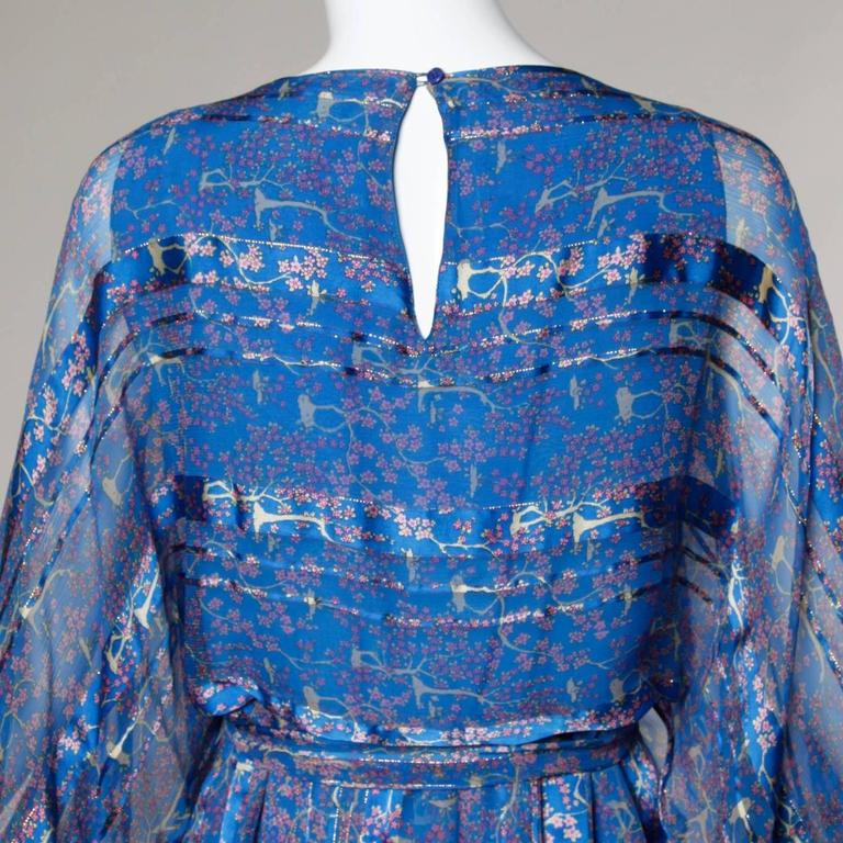 1970s Paper Thin Blue Silk Vintage Dress With Billowy