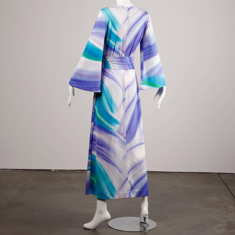 Women's Lanvin Vintage Hand Painted Jersey Knit Maxi Dress with Bell Sleeves, 1970s  For Sale