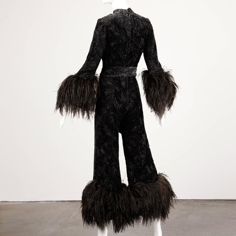 1970s Lillie Rubin Metallic Burnout Velvet Jumpsuit with Ostrich Feather Trim In Excellent Condition For Sale In Sparks, NV