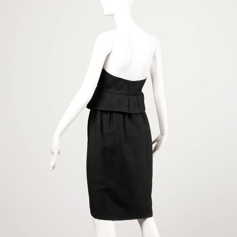 Lanvin 1980s Vintage Strapless Little Black Dress with Peplum For Sale 1