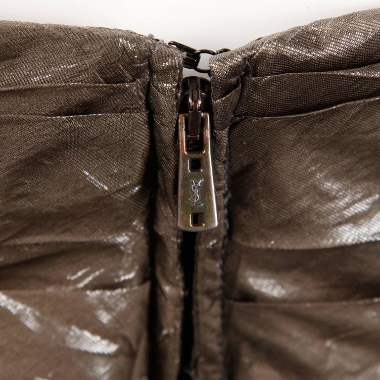 Yves Saint Laurent Strapless Metallic Gunmetal Silk Evening Dress For Sale 1