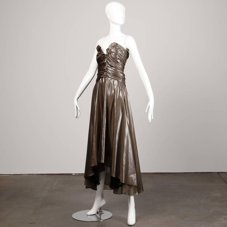 Black Yves Saint Laurent Strapless Metallic Gunmetal Silk Evening Dress For Sale