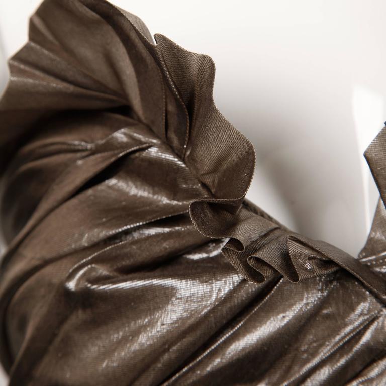 Yves Saint Laurent Strapless Metallic Gunmetal Silk Evening Dress For Sale 3