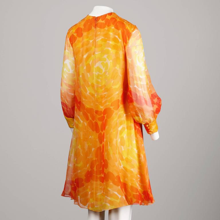 Pab 1960s Vintage Screen Print Silk Chiffon Mod Dress in Yellow and Orange 4