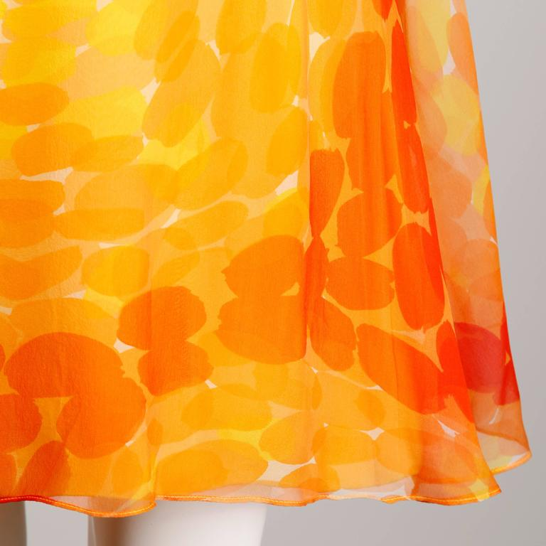 Pab 1960s Vintage Screen Print Silk Chiffon Mod Dress in Yellow and Orange 6