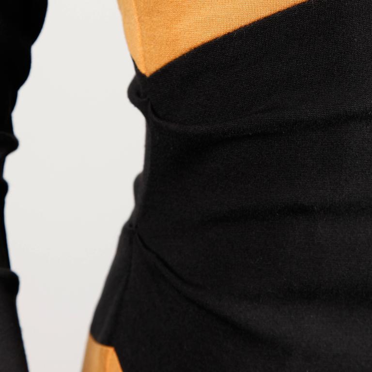 Thierry Mugler Vintage Avant Garde Circular Striped Long Sleeve Dress, 1980s  For Sale 3
