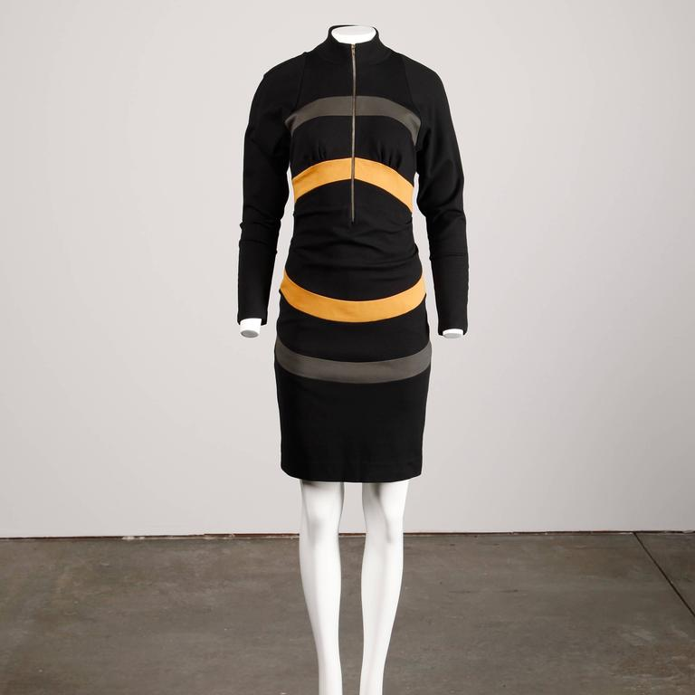 Thierry Mugler Vintage Avant Garde Circular Striped Long Sleeve Dress, 1980s  In Excellent Condition For Sale In Sparks, NV