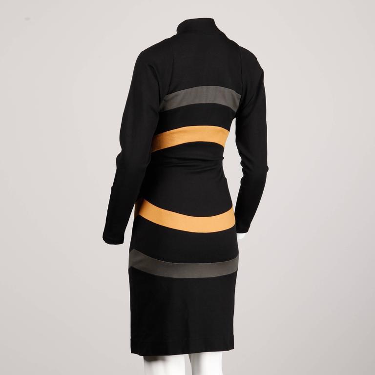 Thierry Mugler Vintage Avant Garde Circular Striped Long Sleeve Dress, 1980s  For Sale 1