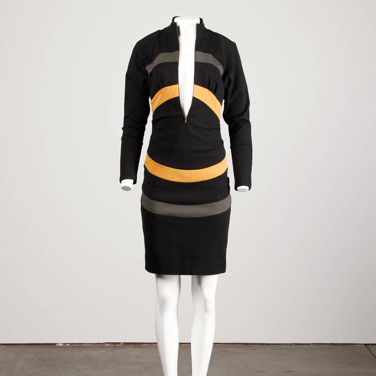 Women's Thierry Mugler Vintage Avant Garde Circular Striped Long Sleeve Dress, 1980s  For Sale