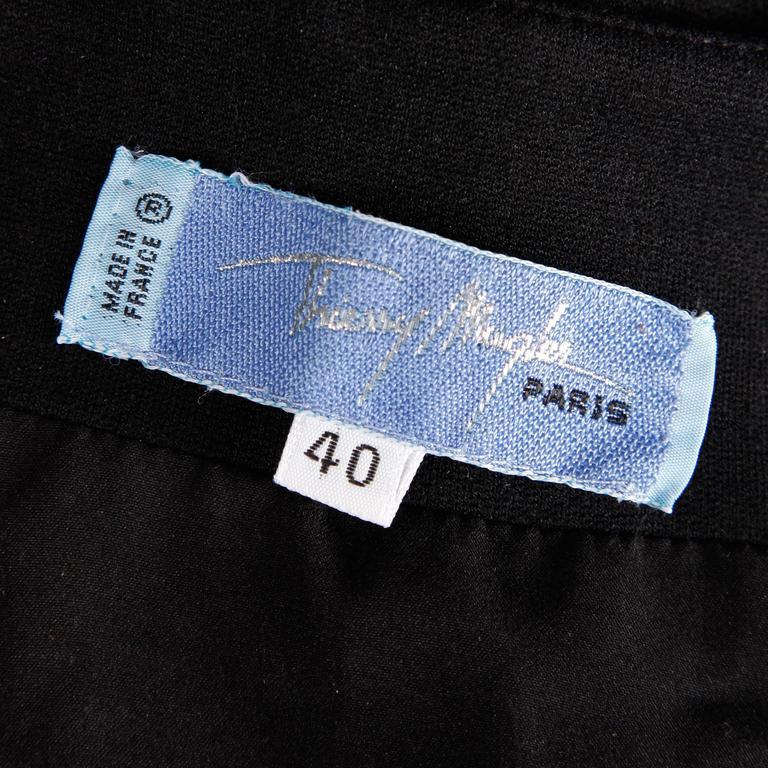 Black Thierry Mugler Vintage Avant Garde Circular Striped Long Sleeve Dress, 1980s  For Sale