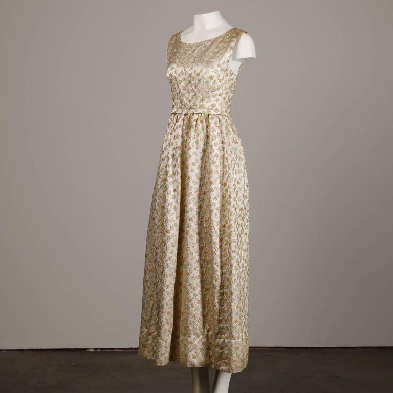 1960s Yves Saint Laurent Haute Couture Numbered Silk Embroidered Evening Dress 3