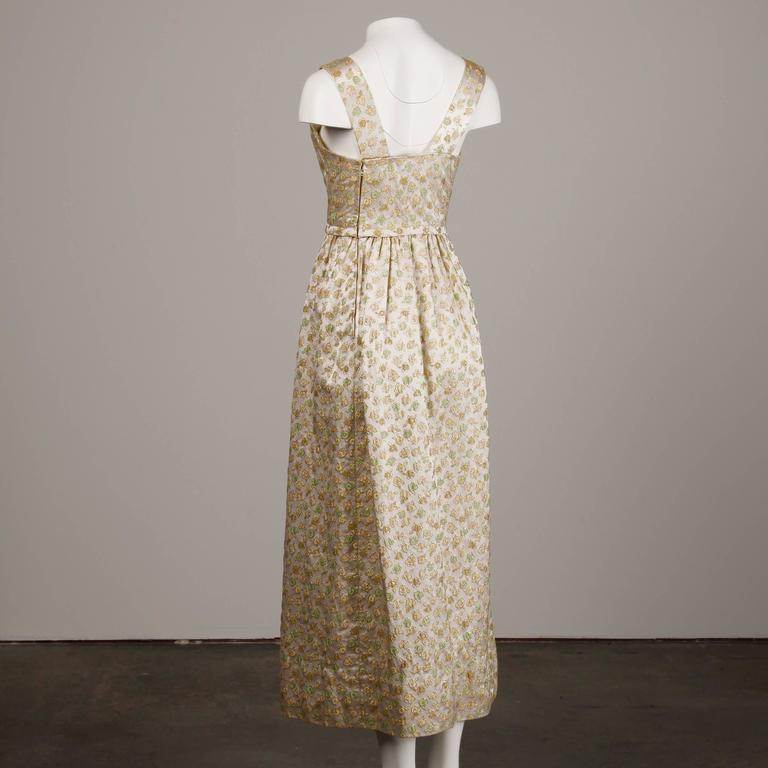 1960s Yves Saint Laurent Haute Couture Numbered Silk Embroidered Evening Dress 5