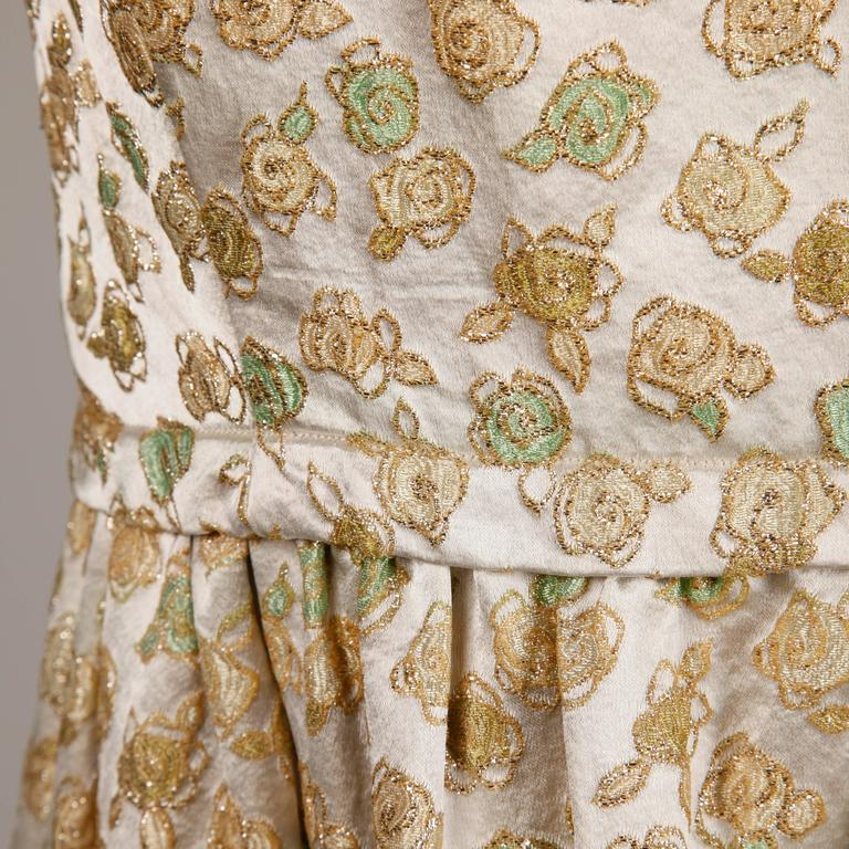 1960s Yves Saint Laurent Haute Couture Numbered Silk Embroidered Evening Dress 7