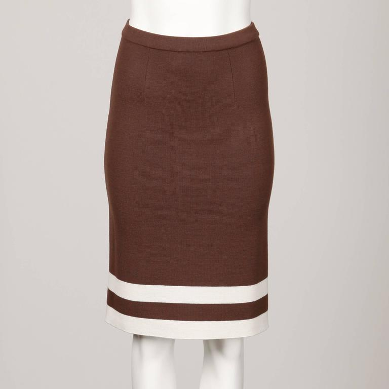 Unworn 1960s Deadstock Wool Knit Mod Color Block Sweater + Skirt Suit Ensemble In New Condition For Sale In Sparks, NV