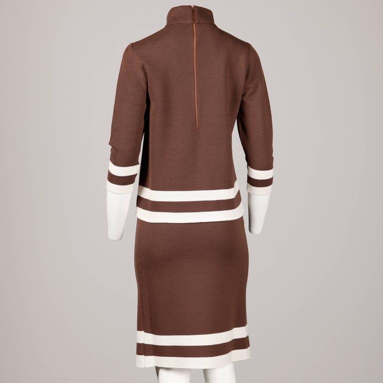 Unworn 1960s Deadstock Wool Knit Mod Color Block Sweater + Skirt Suit Ensemble For Sale 1