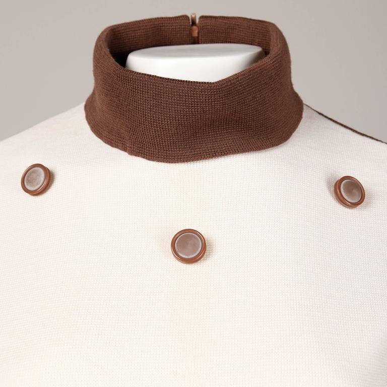 Unworn 1960s Deadstock Wool Knit Mod Color Block Sweater + Skirt Suit Ensemble For Sale 2