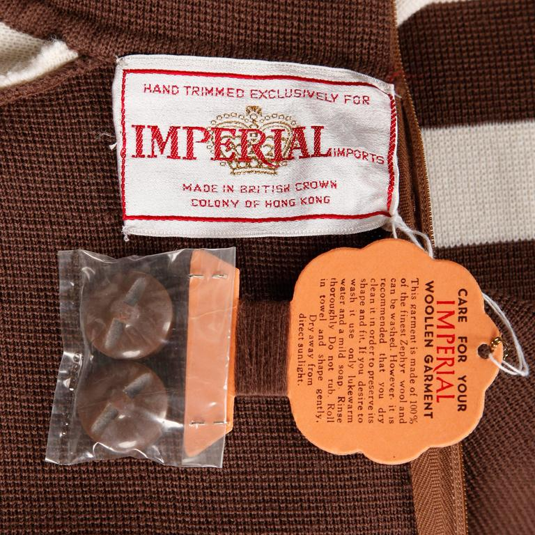 Brown Unworn 1960s Deadstock Wool Knit Mod Color Block Sweater + Skirt Suit Ensemble For Sale