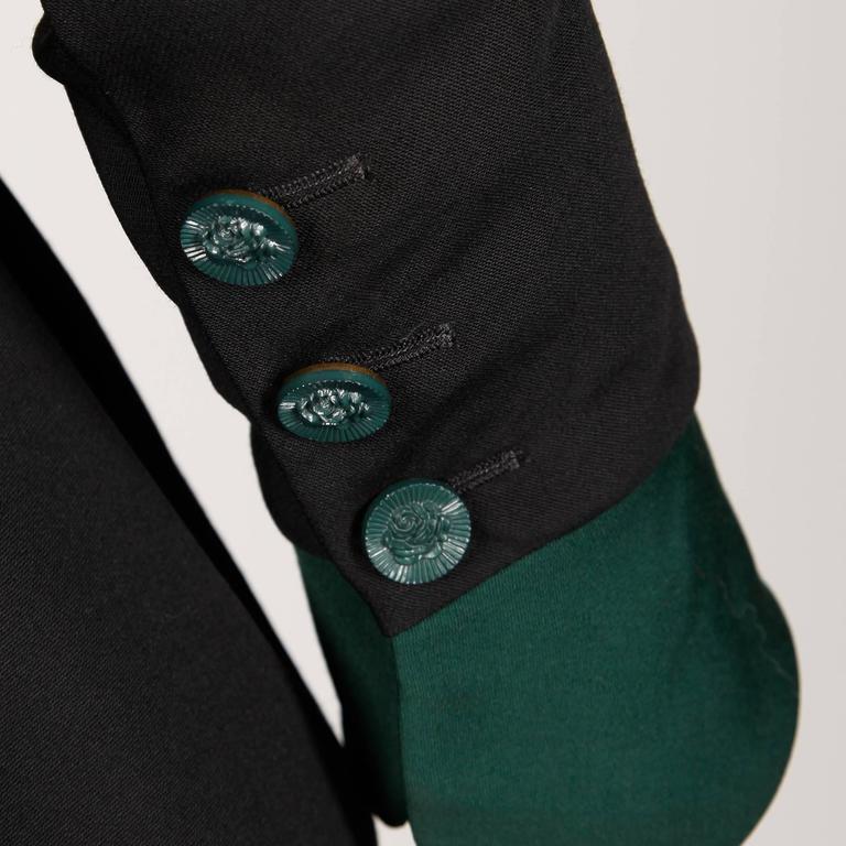 Karl Lagerfeld 1990s Vintage Green + Black Wool Military Jacket For Sale 1