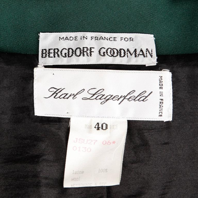 Karl Lagerfeld 1990s Vintage Green + Black Wool Military Jacket In Excellent Condition For Sale In Sparks, NV