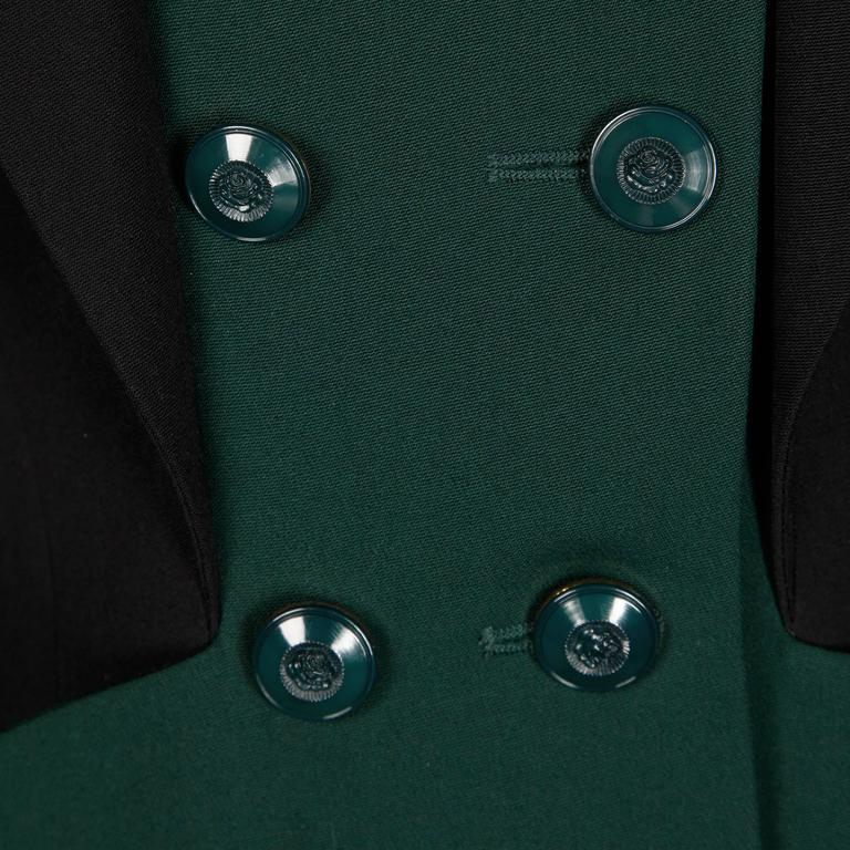 Karl Lagerfeld 1990s Vintage Green + Black Wool Military Jacket For Sale 2