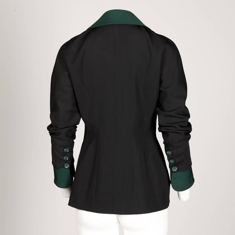 Women's Karl Lagerfeld 1990s Vintage Green + Black Wool Military Jacket For Sale