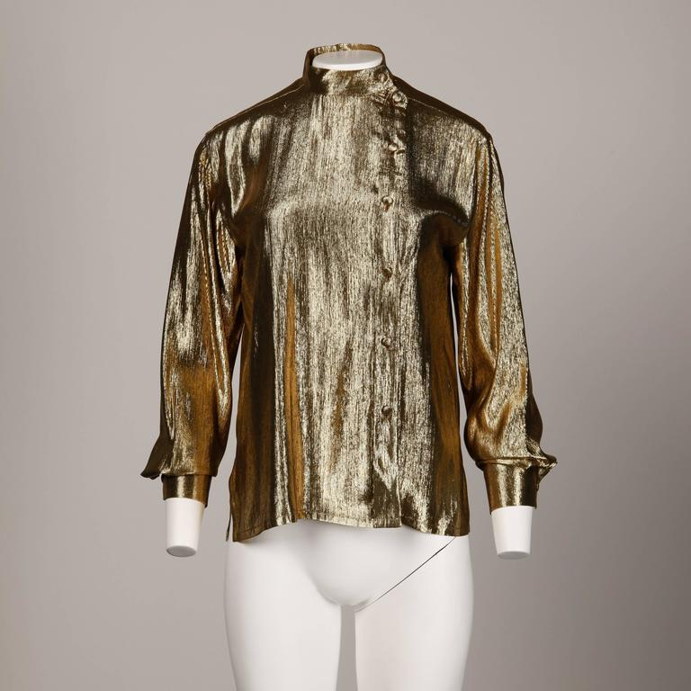Brown Christian Dior Vintage 1980s Metallic Gold Lamé Button Up Blouse Top For Sale