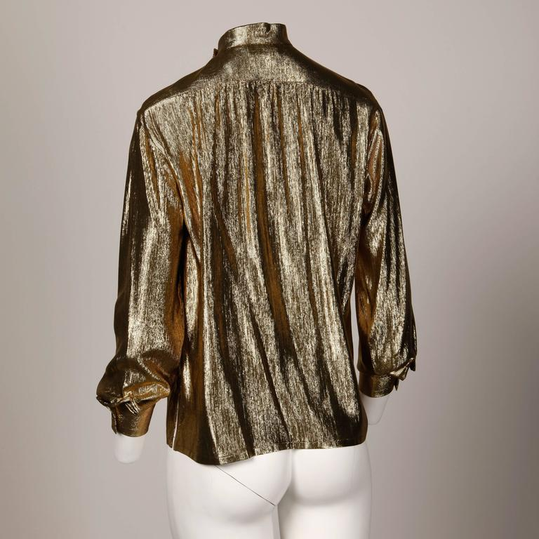 Women's Christian Dior Vintage 1980s Metallic Gold Lamé Button Up Blouse Top For Sale